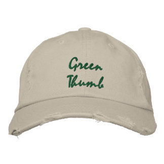 Green Thumb Dark Text Embroidered Cap Embroidered Hats