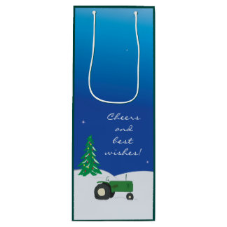 Green Tractor & Barn Christmas Wine Gift Bag