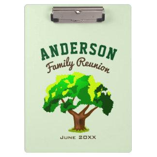 Green Tree Custom Name Family Reunion Clipboards