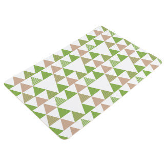 Green Tree Kale Greenery Triangle Geometric Mosaic Floor Mat
