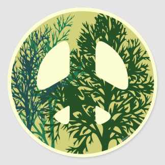 Green Trees Peace Sign Stickers