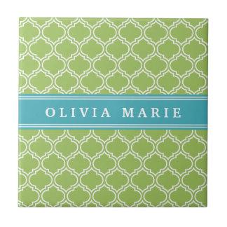 Green Trellis Vibrant Blue Name Template Small Square Tile