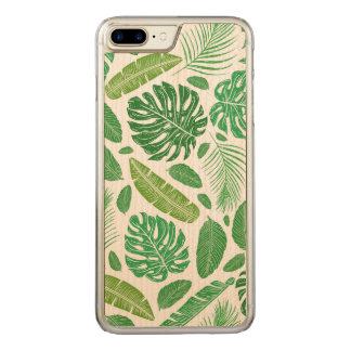 Green Tropical Leafs Pattern D2 Carved iPhone 8 Plus/7 Plus Case