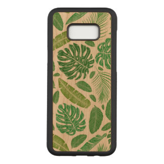 Green Tropical Leafs Pattern D3 Carved Samsung Galaxy S8+ Case
