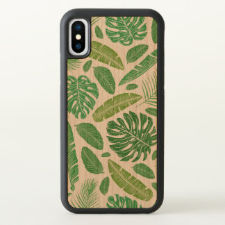 Green Tropical Leafs Pattern iPhone X Case