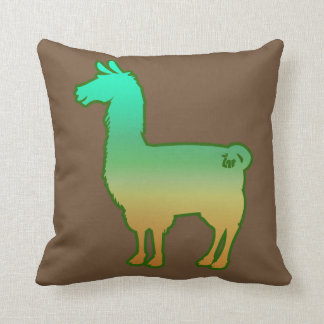 Green Tropical Llama Pillow