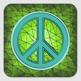 Green Turquoise Peace Sign Square Sticker