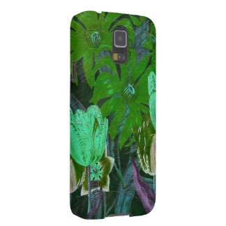 Green Turquoise Vintage Botanical Tulips Galaxy S5 Case