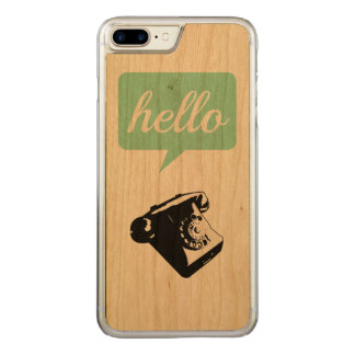 Green Typography Retro Phone Hello on Wood Carved iPhone 8 Plus/7 Plus Case