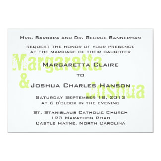 "Green Vintage Brick Graffiti Wedding Invitation 5"" X 7"" Invitation Card"