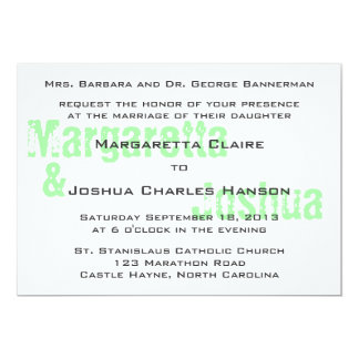 Green Vintage Brick Graffiti Wedding Invitation