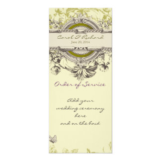 Green Vintage Floral Wedding Program Personalized Invitations