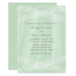 Green Watercolor Deco Wedding Invite