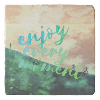 Green Watercolor Jogging Running Typography Trivet