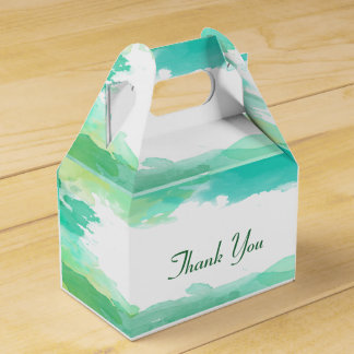Green Watercolor Party Favor Box
