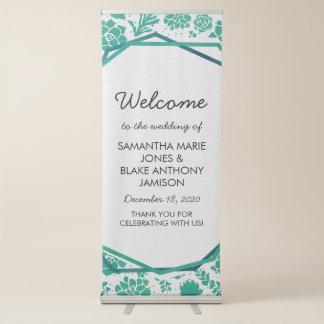 Green Watercolor Succulent Chic Wedding Welcome Retractable Banner