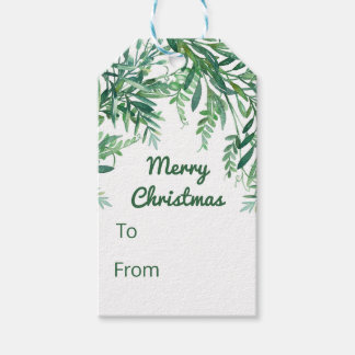 Green Watercolor Tropical Leaves Christmas Gift Tags