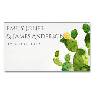 GREEN WATERCOLOUR DESERT CACTUS SAVE THE DATE MAGNETIC BUSINESS CARD