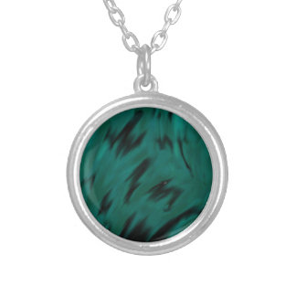 Green Waves design Silver Plated Necklace
