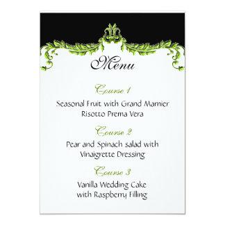 green wedding menu 13 cm x 18 cm invitation card