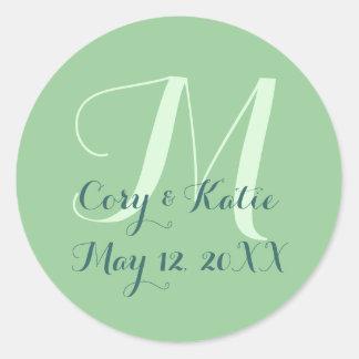 Green Wedding Monogram Stickers