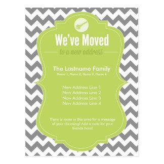 Green We've Moved Change of Address Postcards