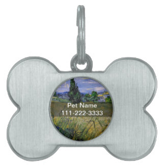 Green Wheat Field with Cypress by Van Gogh. Pet Name Tag