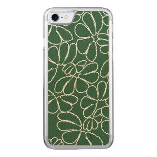 Green Whimsical Ikat Floral Petal Doodle Pattern Carved iPhone 8/7 Case