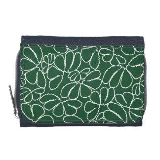 Green Whimsical Ikat Floral Petal Doodle Pattern Wallet