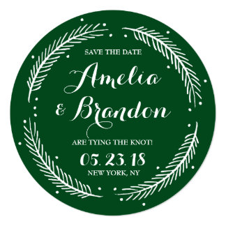 Green Whimsical Winter Wreath Save the Date Card