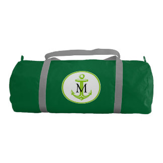Green White Anchor and Monogram Gym Bag
