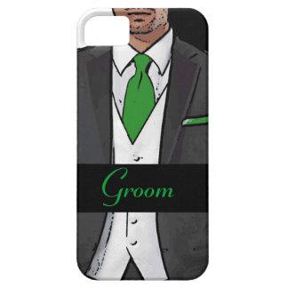 Green white black tuxedo groom iphone 5 case