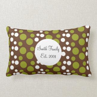 Green White Brown Polka Dots Pattern Cushions
