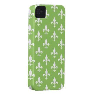 Green & White Fleur De Lis Pattern iPhone 4 Case