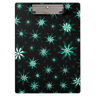 Green White Floral Clipboard
