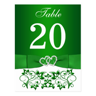 Green, White Floral Table Number Card
