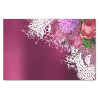 Green White Flower Pink Peony Gray Burgundy Floral Tissue Paper