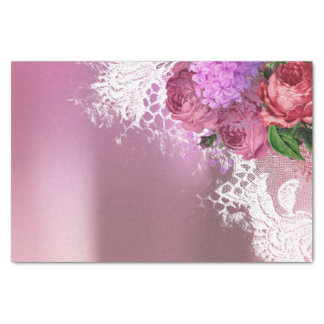 Green White Flower Pink Peony Gray Lilac Floral Tissue Paper