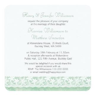 Green white lace wedding brides parents invitation