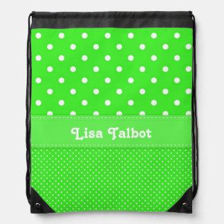 Green & White Polka Dot Backpack