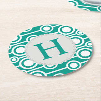 Green white seamless monogram pattern Coasters