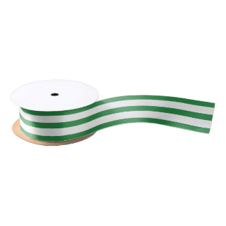 Green & White striped ribbon Satin Ribbon