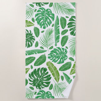Green & White Tropical Leafs Pattern Beach Towel