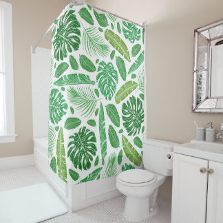 Green & white tropical leafs pattern shower curtain