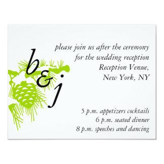 Green White Winter Wedding Reception Card