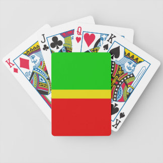 Green, yellow, and red. bicycle playing cards