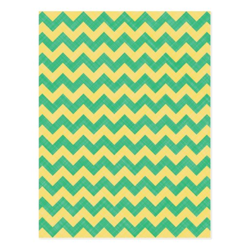 Green & Yellow Fabric Zigzag Chevron Pattern. Chic Post Cards