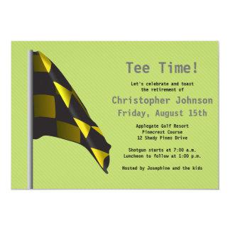 Green Yellow Golf Flag Retirement Party Invitation