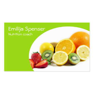 Green Yellow Nutritionist/Healthy Life Card Business Cards