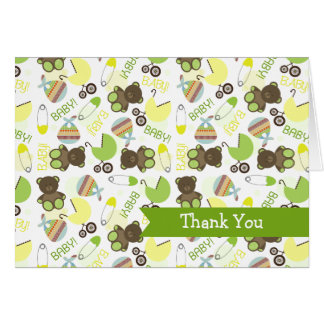 Green & Yellow Pattern Baby Shower Thank You Card